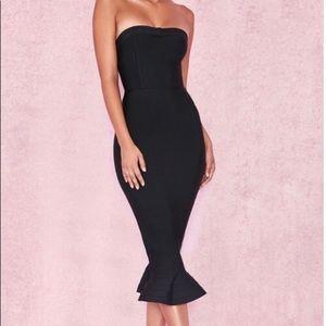 Black Bandage Fluted House of CB London Dress XS